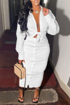 White Fashion Casual Solid Bandage Turndown Collar Long Sleeve Two Pieces