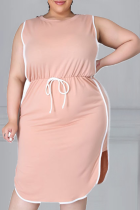 Pink Casual Solid Split Joint O Neck Straight Plus Size Dresses