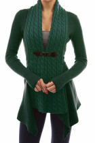 Green Trendy Patchwork Cardigan Sweaters
