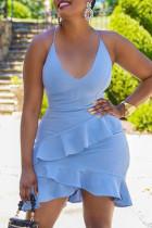 Sky Blue Fashion Sexy Solid Backless Spaghetti Strap Sleeveless Dress