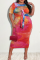 Red Sexy Patchwork Hollowed Out Tie-dye O Neck Pencil Skirt Plus Size Dresses