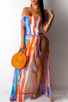 Tangerine Sexy Print Split Joint Asymmetrical Swimwears