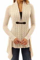 Khaki Trendy Patchwork Cardigan Sweaters