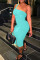 Cyanine Fashion Sexy Solid Backless One Shoulder Sleeveless Dress