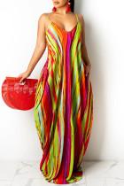 Red Fashion Sexy Print Backless Spaghetti Strap Long Dress