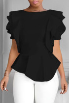 Black Fashion Casual Solid Split Joint O Neck Tops