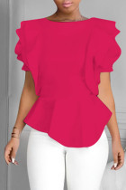 Rose Red Fashion Casual Solid Split Joint O Neck Tops