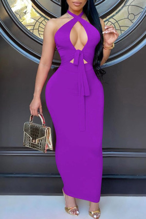 Purple Fashion Sexy Solid Bandage Hollowed Out Backless Halter Long Dress