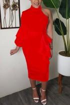 Red Fashion Sexy Stitching One-shoulder Dress