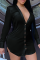 Black Casual Solid Split Joint Turndown Collar Shirt Dress Dresses