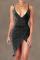 Black Sexy Solid Split Joint Spaghetti Strap Irregular Dress Dresses