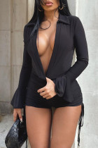 Black Sexy Casual Solid Fold V Neck Skinny Jumpsuits