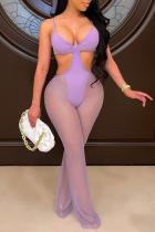Purple Sexy Solid Split Joint Mesh Swimwears