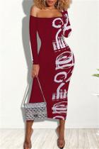 Red Fashion Sexy Print Split Joint Bateau Neck Printed Dress