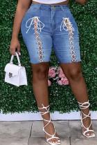 Deep Blue Fashion Casual Solid Strap Design Plus Size Jeans