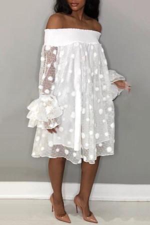 White Trendy Dew Shoulder Polka Dot Transparency Mid Calf A Line Dress