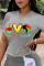 Black Casual Print Split Joint O Neck T-Shirts