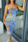 Light Blue Sexy Print Split Joint Strapless Pencil Skirt Dresses
