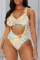 Yellow Sexy Print Hollowed Out Split Joint Swimwears