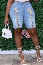 Light Blue Fashion Casual Solid Strap Design Plus Size Jeans