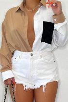 Khaki Fashion Casual Patchwork Basic Turndown Collar Tops