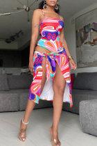 Pink Fashion Sexy Print Backless Swimwears