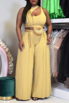 Khaki Sexy Casual Solid Hollowed Out O Neck Sleeveless Two Pieces