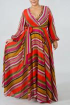 Tangerine Elegant Print Bandage Split Joint V Neck Printed Dress Dresses