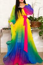 Multi-color Elegant Print Bandage Split Joint V Neck Printed Dress Dresses