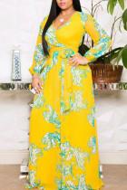 Yellow Elegant Print Bandage Split Joint V Neck Printed Dress Dresses