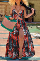 Red Fashion Sexy Print Hollowed Out Backless Halter Sleeveless Dress