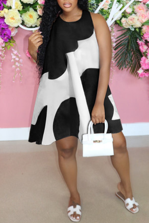Black Fashion Casual Patchwork Basic O Neck Sleeveless A Line Dresses