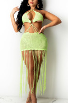 Fluorescent Green Sexy Solid Tassel Hollowed Out Split Joint Backless Swimwears Cover Up