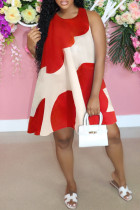 Red Fashion Casual Patchwork Basic O Neck Sleeveless A Line Dresses