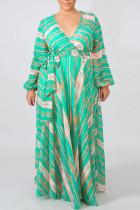 Cyanine Elegant Print Bandage Split Joint V Neck Printed Dress Dresses