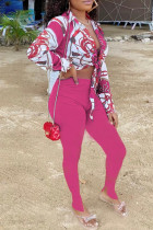 Rose Red Fashion Casual Print Bandage Strap Design Turndown Collar Long Sleeve Two Pieces