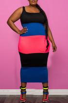 Red Casual Striped Print Split Joint U Neck Pencil Skirt Plus Size Dresses