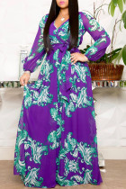 Purple Elegant Print Bandage Split Joint V Neck Printed Dress Dresses