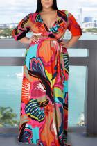 Red Elegant Print Bandage Split Joint Slit V Neck Printed Dress Plus Size Dresses