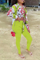 Fluorescent Yellow Fashion Casual Print Bandage Strap Design Turndown Collar Long Sleeve Two Pieces