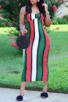 Red Fashion Sexy Striped Print Backless Spaghetti Strap Long Dress