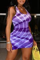 Purple Fashion Sexy Print Basic U Neck Vest Dress