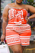 Orange Sexy Casual Print Backless Strapless Plus Size Romper