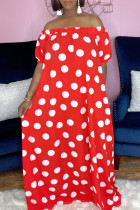 Red Fashion Casual Dot Print Backless Off the Shoulder Short Sleeve Dress