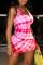 Red White Fashion Sexy Print Basic U Neck Vest Dress