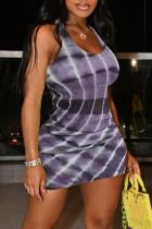 Black Gray Fashion Sexy Print Basic U Neck Vest Dress