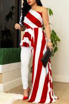 Red Street Striped Print Split Joint Asymmetrical Oblique Collar Irregular Dress Dresses