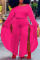 Rose Red Casual Solid Split Joint One Shoulder Plus Size Two Pieces