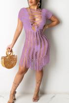 Purple Sexy Solid Tassel Frenulum Swimwears Cover Up