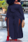 Navy Blue Casual Solid Split Joint One Shoulder Plus Size Two Pieces